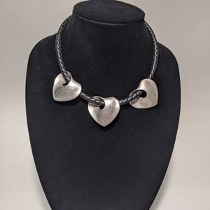 Leather choker with silver hearts